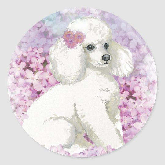 White Poodle in the Lilacs Art and Gifts Classic Round Sticker