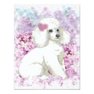 White Poodle in the Lilacs Art and Gifts 4.25x5.5 Paper Invitation Card