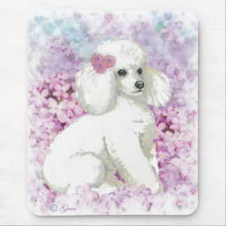 White Poodle in the Lilacs Art and Gifts Mouse Pad