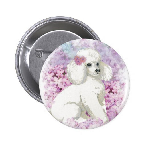 White Poodle in the Lilacs Button Pin