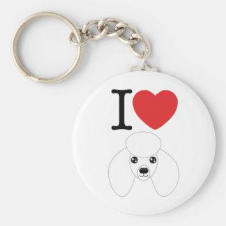 White Poodle Keychain
