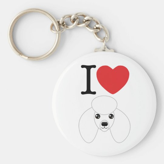 White Poodle Keychain