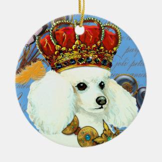 White Poodle King Christmas Ornament