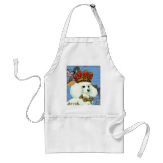 White Poodle King in Crown Adult Apron