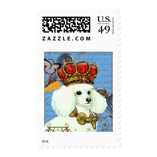 White Poodle King in Crown Postage