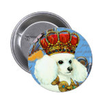 White Poodle King Painting Dress up 2 Inch Round Button