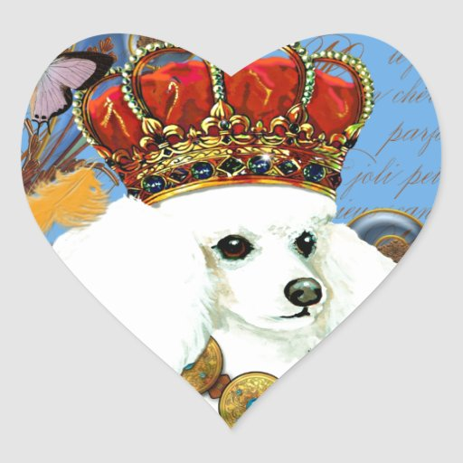 White Poodle King Painting Dress up Heart Sticker