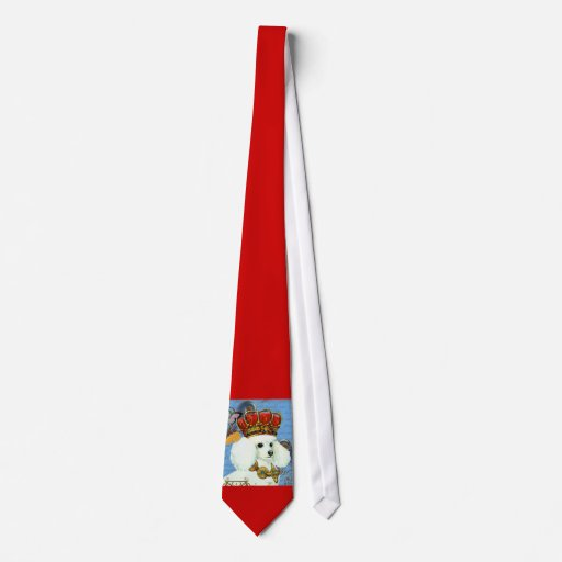 White Poodle King Painting Dress up Tie