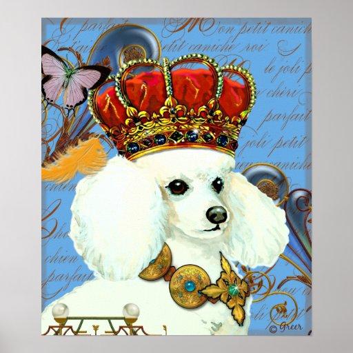 White Poodle King Poster Print