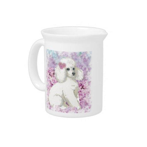 White Poodle & Lilacs Dog Treat Pitcher