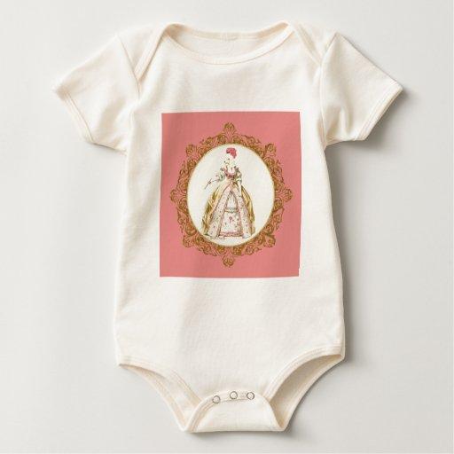 White Poodle Marie Antoinette Baby Bodysuit