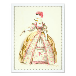 White Poodle Marie Antoinette French Fashion Card