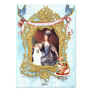 "White Poodle & Marie Antoinette Invitation 5"" X 7"" Invitation Card"