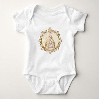 White Poodle Marie Antoinette Ornate Art Baby Bodysuit