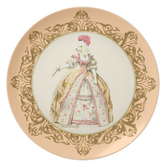 White Poodle Marie Antoinette Plate