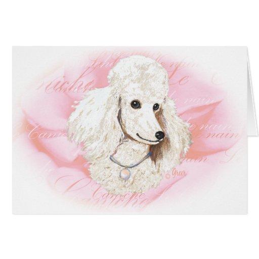 White Poodle n Rose Portrait Card
