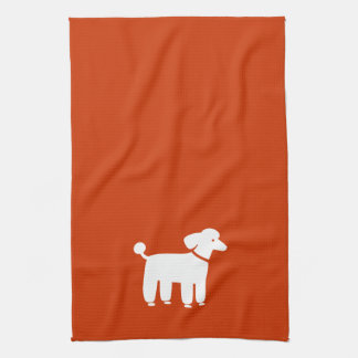 White Poodle on Customizable Color Hand Towel