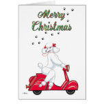 White Poodle on Red Scooter Merry Christmas Cards