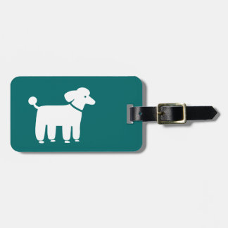 White Poodle on Teal (Color is Customizable) Luggage Tag