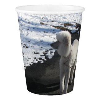 White Poodle Paper Cup