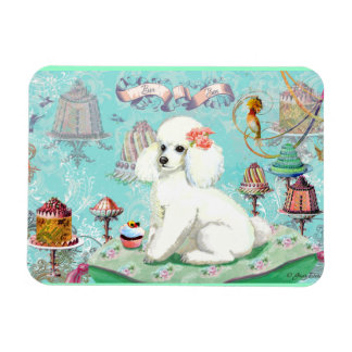 White Poodle Party Treats and Cupcake Magnet