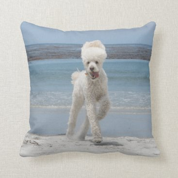 Beach Themed White Poodle Pillow