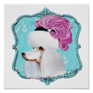 White Poodle Pink Feather Hat Poster Print