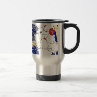 White Poodle Pop Art Travel Mug