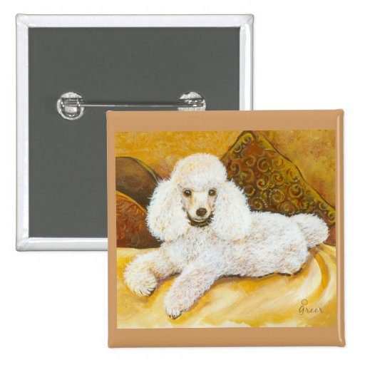 White Poodle Portrait 2 Inch Square Button