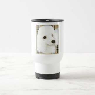 White Poodle Portrait Burberry Art Print Gifts Travel Mug