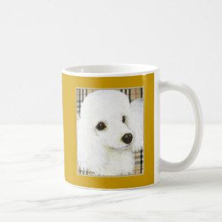 White Poodle Portrait Burberry Coffee Mug