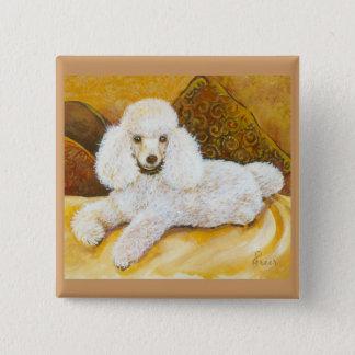 White Poodle Portrait Button