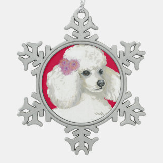 White Poodle Portrait Christmas Ornament Gift