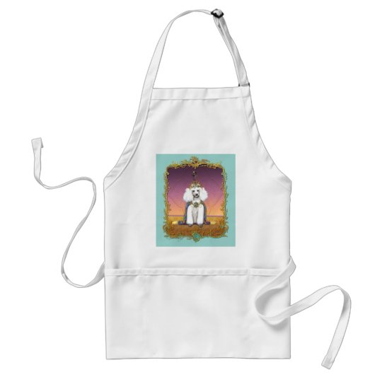 White Poodle Prince Oriental Style Adult Apron
