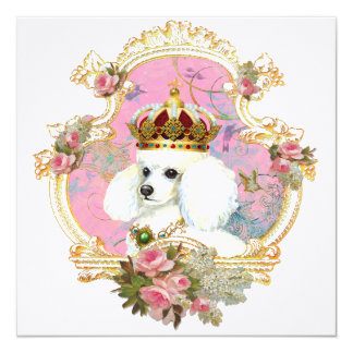White Poodle Princess Invitations Cards