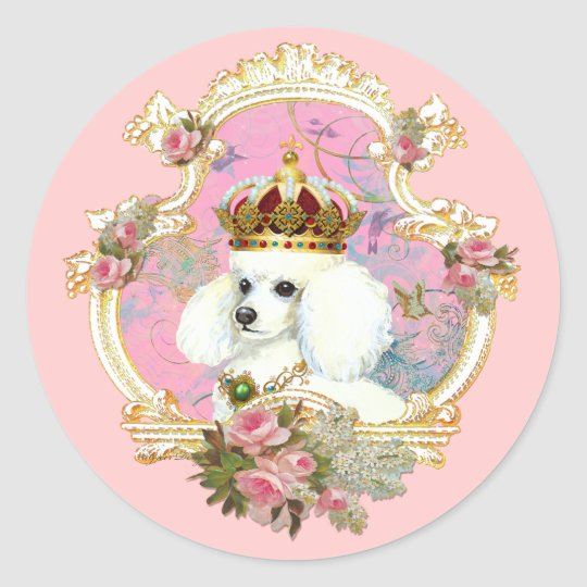 White Poodle Princess n Pink Roses Classic Round Sticker