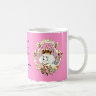 White Poodle Princess n Pink Roses Coffee Mug