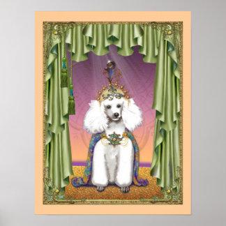 White Poodle Princess Oriental Poster Print