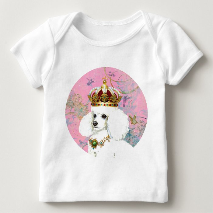 White Poodle Princess with Hummingbirds Baby T-Shirt