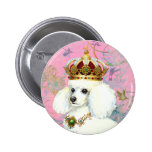 White Poodle Princess with Hummingbirds Button