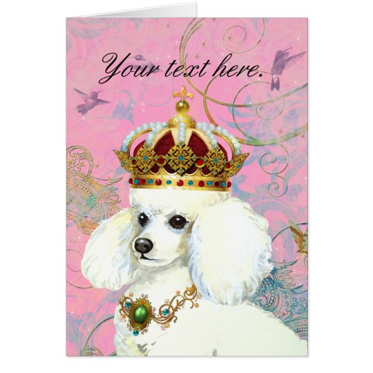 White Poodle Princess with Hummingbirds Card