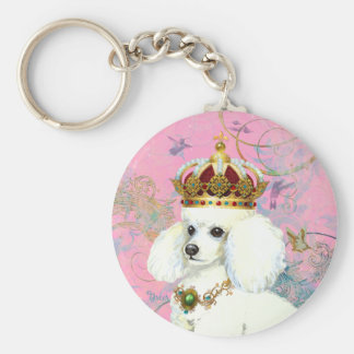 White Poodle Princess with Hummingbirds Keychain