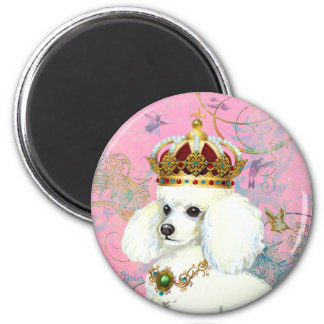 White Poodle Princess with Hummingbirds Magnets