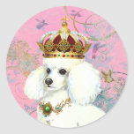 White Poodle Princess with Hummingbirds Round Stickers