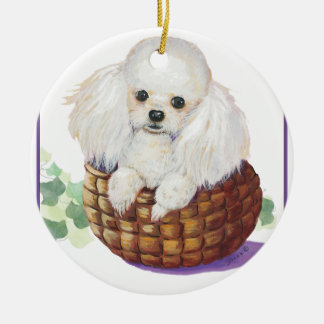 White Poodle Puppy in Basket Ornament