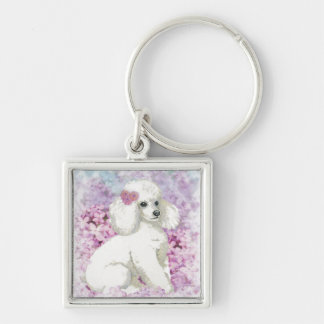 White Poodle Puppy Lilacs Art Design Silver-Colored Square Keychain