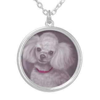 White Poodle Round Pendant Necklace