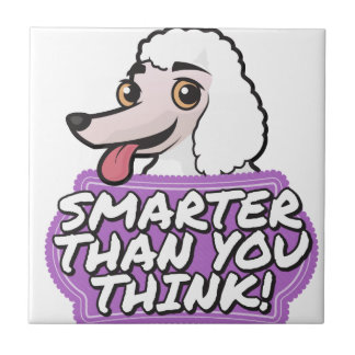 White Poodle - Smarter than you think! Ceramic Tile