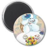 White Poodle Tea Party 2 Inch Round Magnet