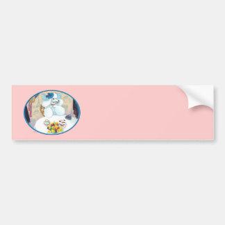 White Poodle Tea Party Car Bumper Sticker